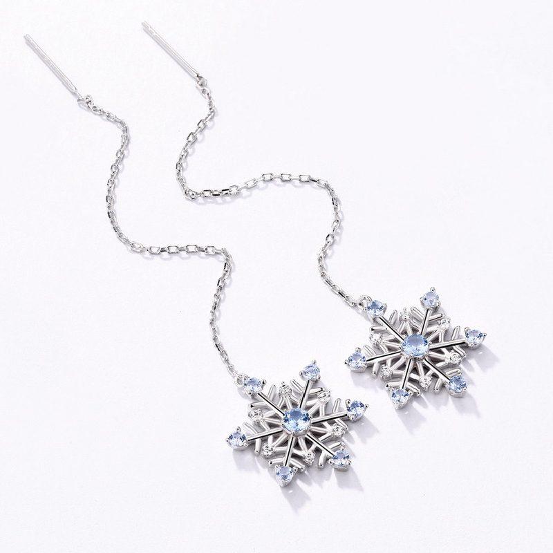 Bông tai bạc mạ bạch kim đính đá Zircon hình bông tuyết LILI_351823-02