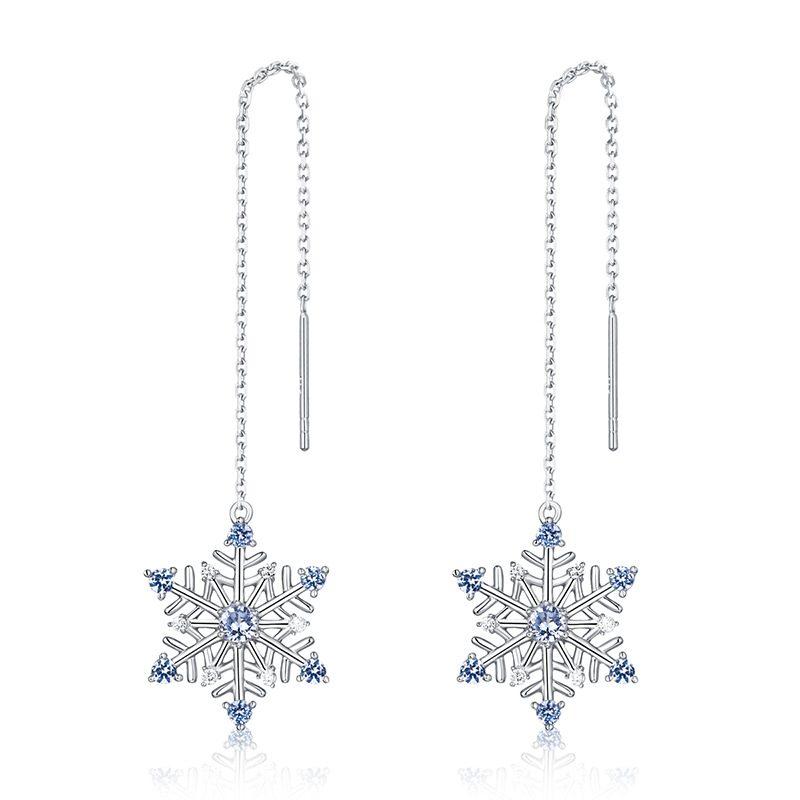 Bông tai bạc mạ bạch kim đính đá Zircon hình bông tuyết LILI_351823-03
