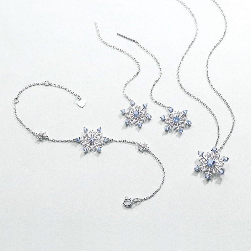 Bông tai bạc mạ bạch kim đính đá Zircon hình bông tuyết LILI_351823-04