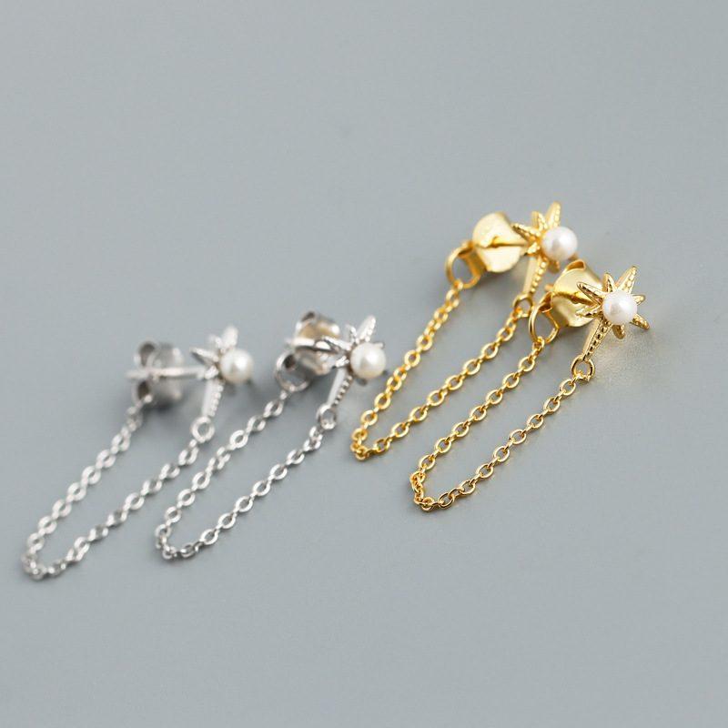 Bông tai bạc mạ vàng bạch kim dạng chuỗi LILI_264546-01