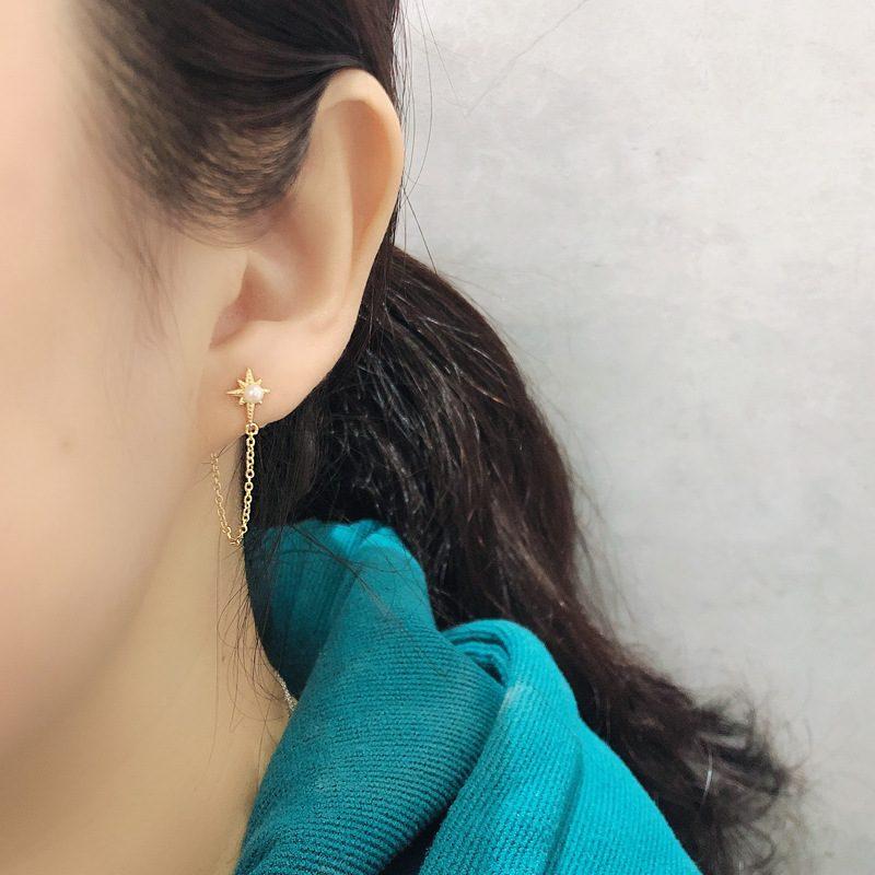 Bông tai bạc mạ vàng bạch kim dạng chuỗi LILI_264546-02