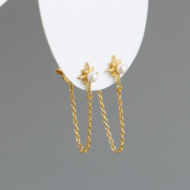 Bông tai bạc mạ vàng bạch kim dạng chuỗi LILI_264546-03