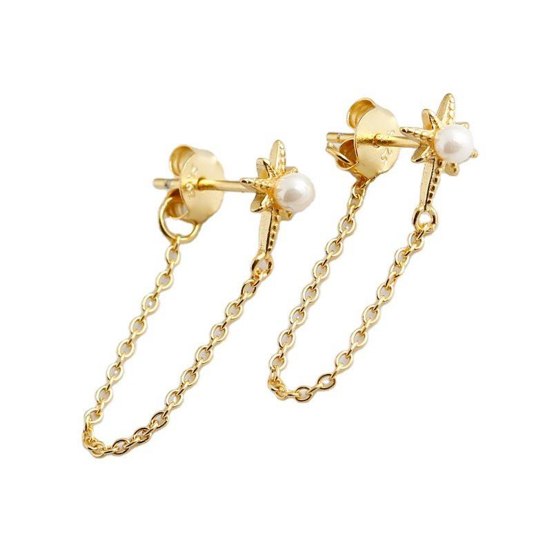 Bông tai bạc mạ vàng bạch kim dạng chuỗi LILI_264546-04