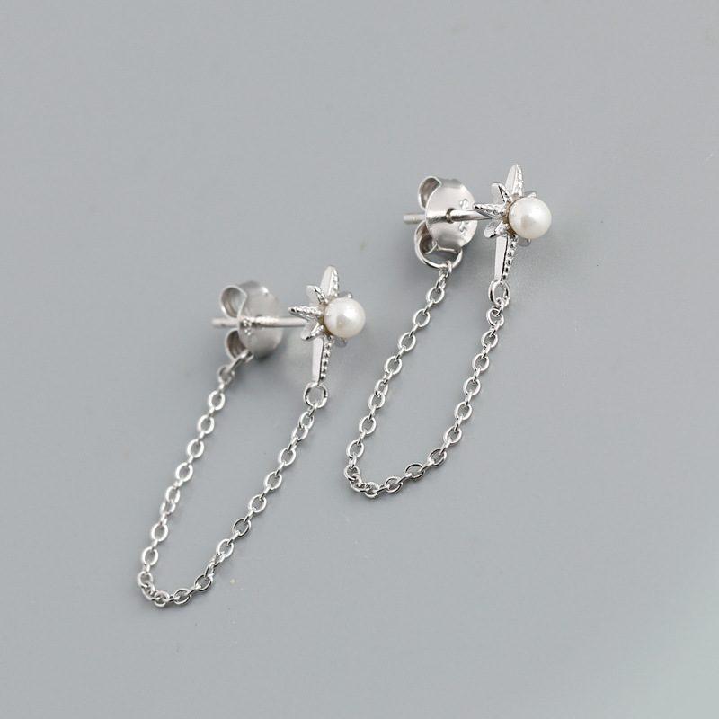 Bông tai bạc mạ vàng bạch kim dạng chuỗi LILI_264546-05