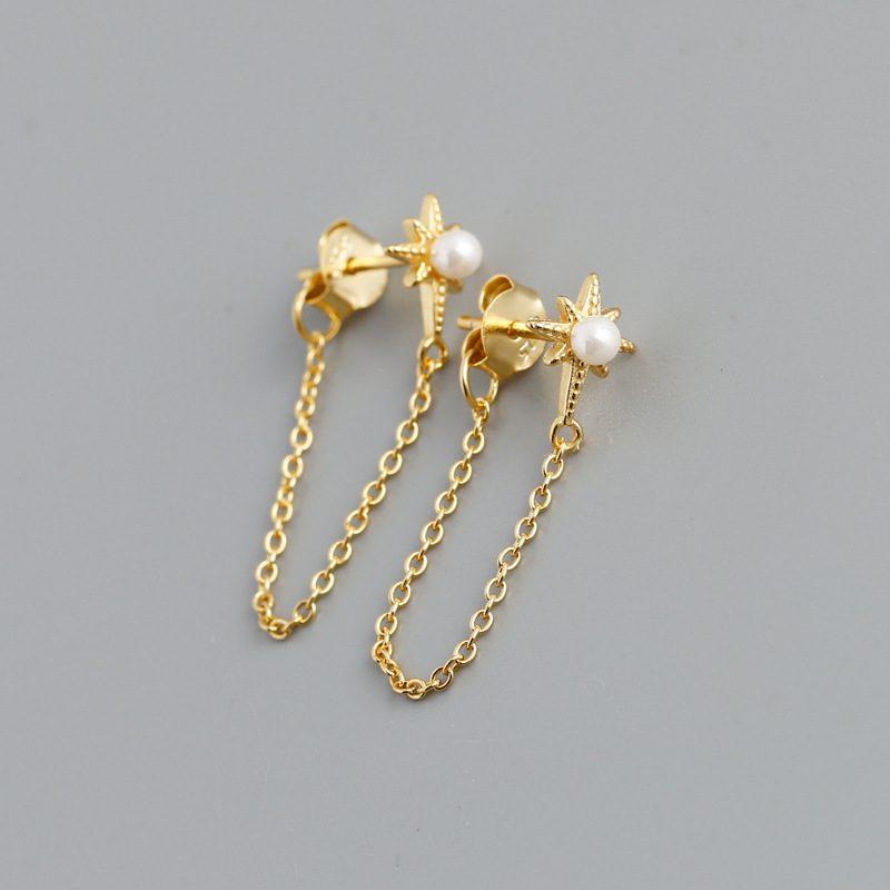 Bông tai bạc mạ vàng bạch kim dạng chuỗi LILI_264546-06