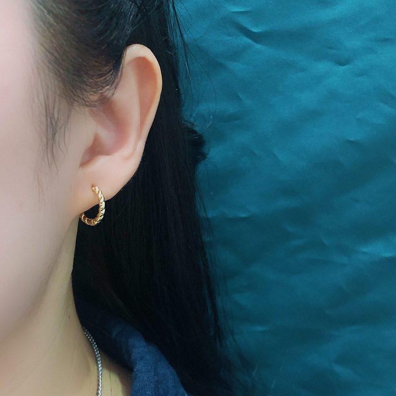 Bông tai bạc mạ vàng bạch kim dạng xoắn ốc LILI_591575-01