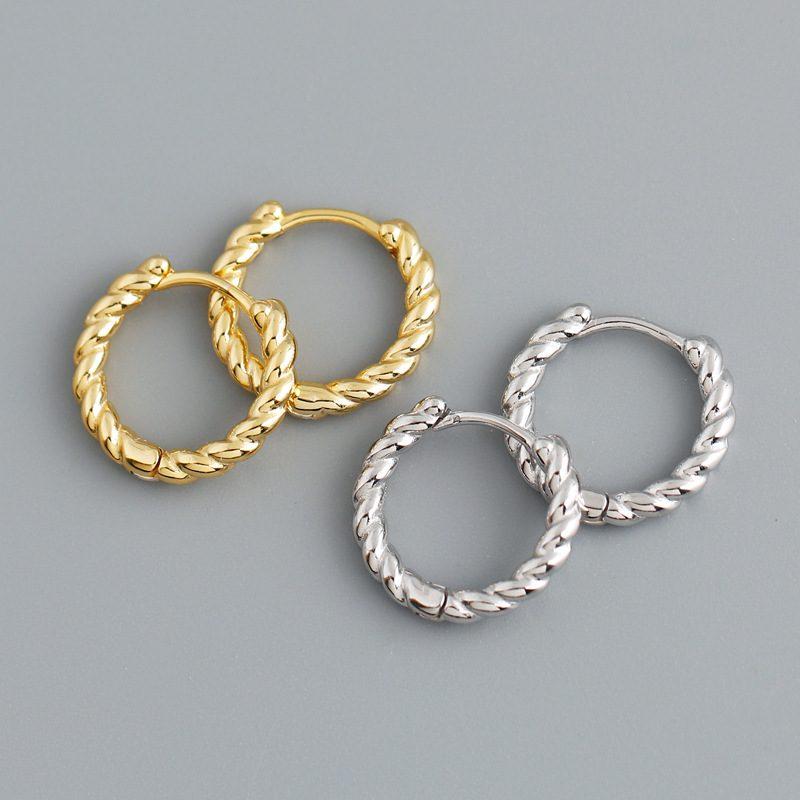 Bông tai bạc mạ vàng bạch kim dạng xoắn ốc LILI_591575-02