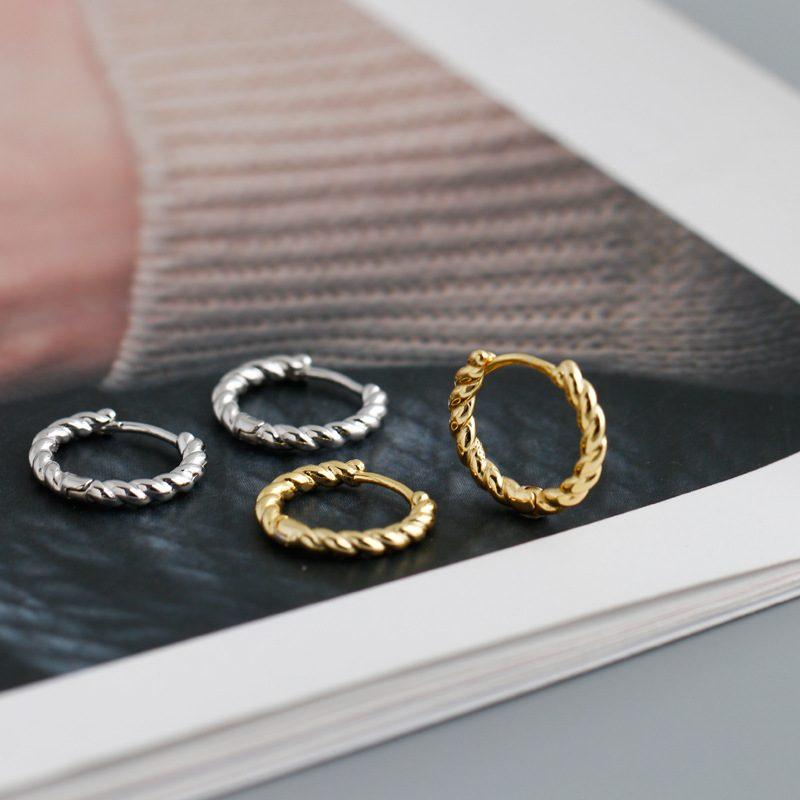 Bông tai bạc mạ vàng bạch kim dạng xoắn ốc LILI_591575-03