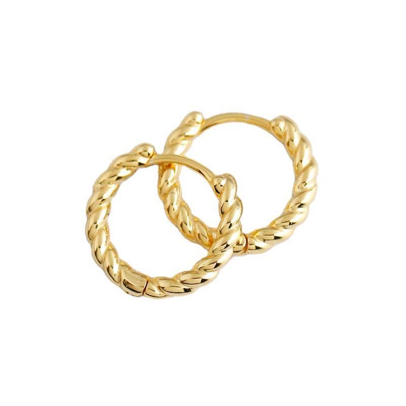Bông tai bạc mạ vàng bạch kim dạng xoắn ốc LILI_591575-04