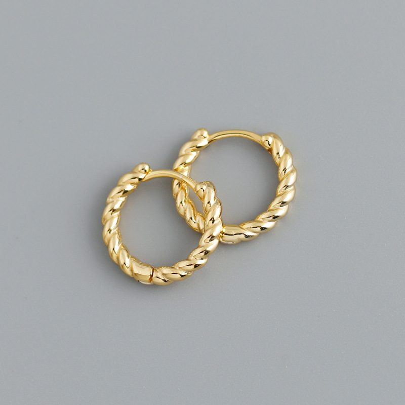 Bông tai bạc mạ vàng bạch kim dạng xoắn ốc LILI_591575-06