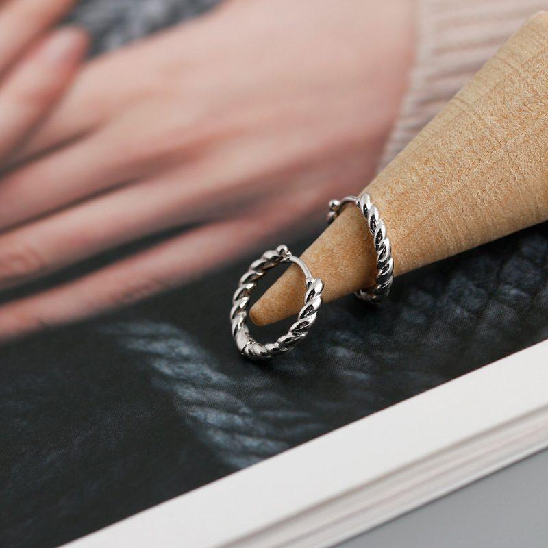 Bông tai bạc mạ vàng bạch kim dạng xoắn ốc LILI_591575-08