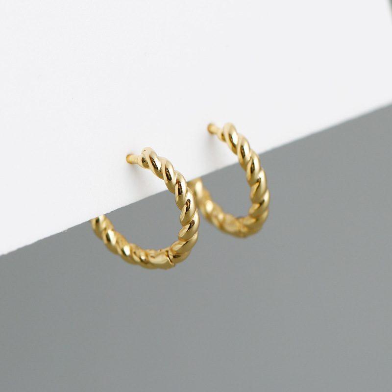 Bông tai bạc mạ vàng bạch kim dạng xoắn ốc LILI_591575-09