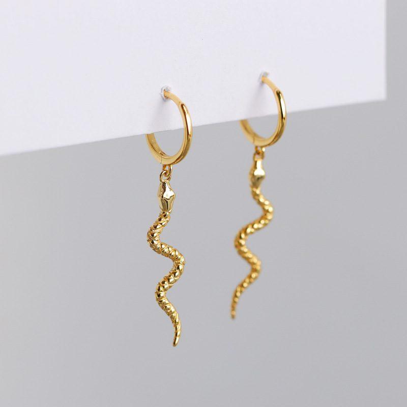 Bông tai bạc mạ vàng bạch kim hình con rắn LILI_769742-03