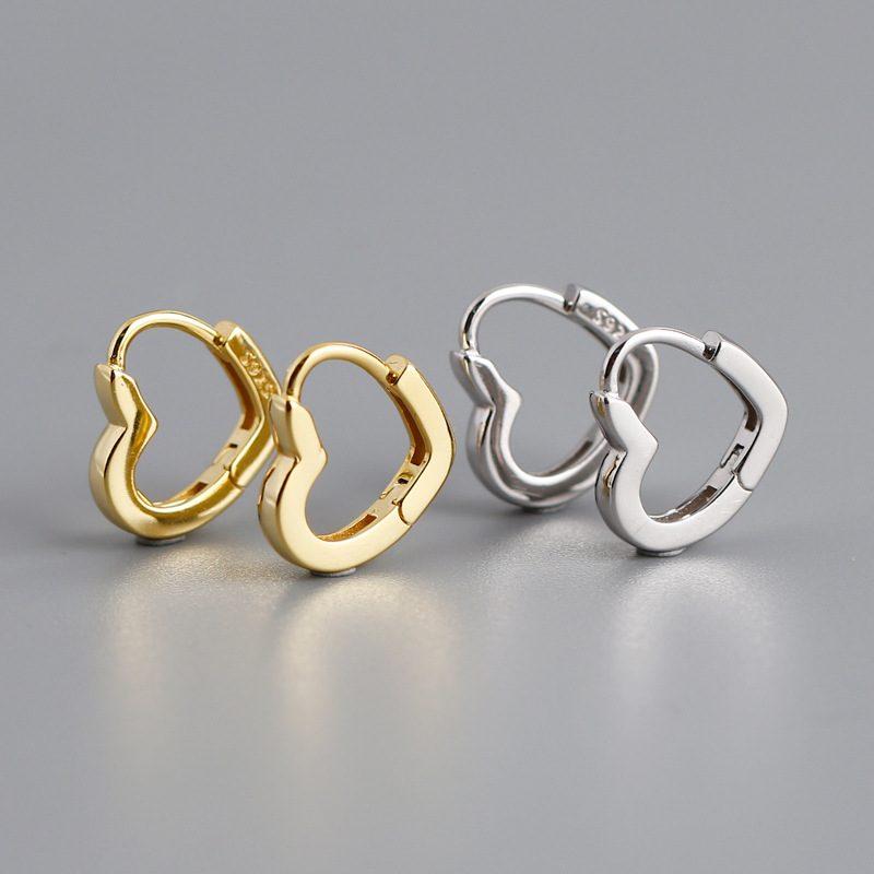 Bông tai bạc mạ vàng bạch kim hình trái tim LILI_649279-01