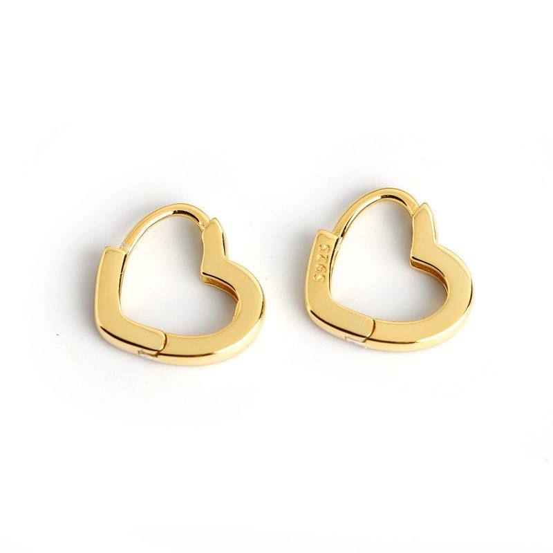 Bông tai bạc mạ vàng bạch kim hình trái tim LILI_649279-02