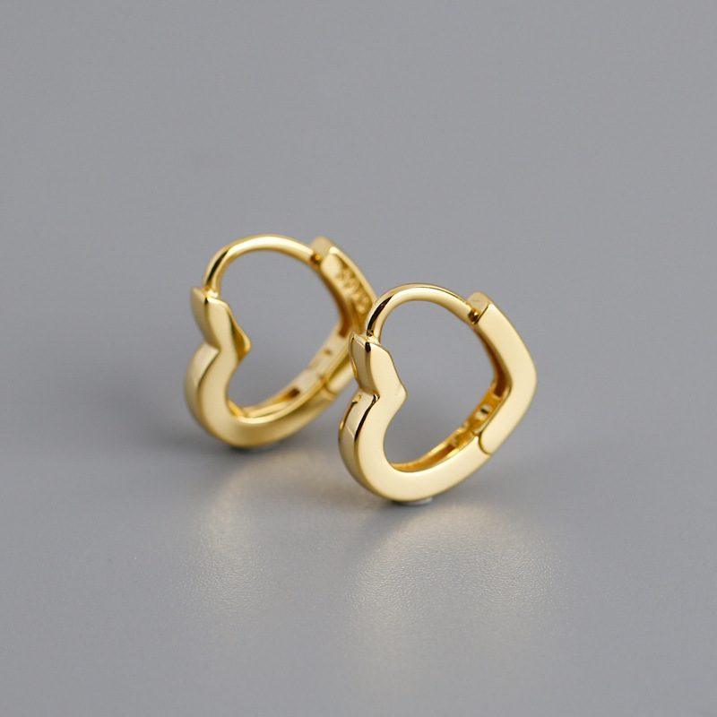 Bông tai bạc mạ vàng bạch kim hình trái tim LILI_649279-03