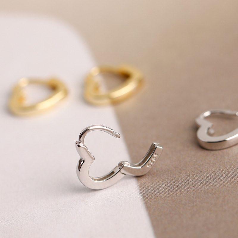 Bông tai bạc mạ vàng bạch kim hình trái tim LILI_649279-04