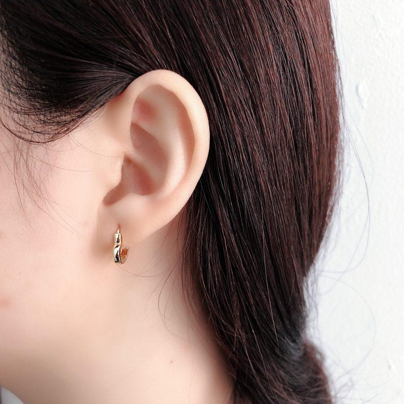 Bông tai bạc mạ vàng bạch kim hình trái tim LILI_649279-07