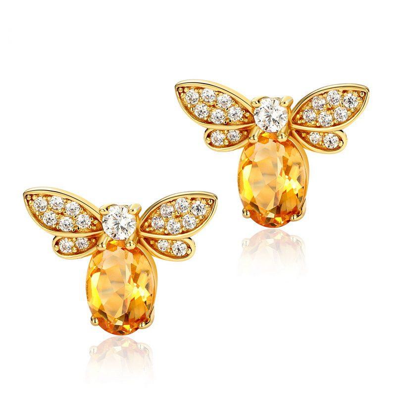 Bông tai bạc mạ vàng đính đá Citrine Zircon hình ong mật LILI_226817-01