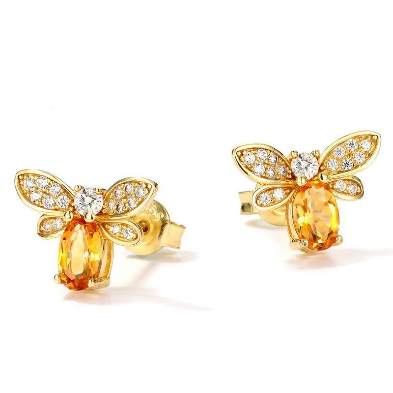 Bông tai bạc mạ vàng đính đá Citrine Zircon hình ong mật LILI_226817-02