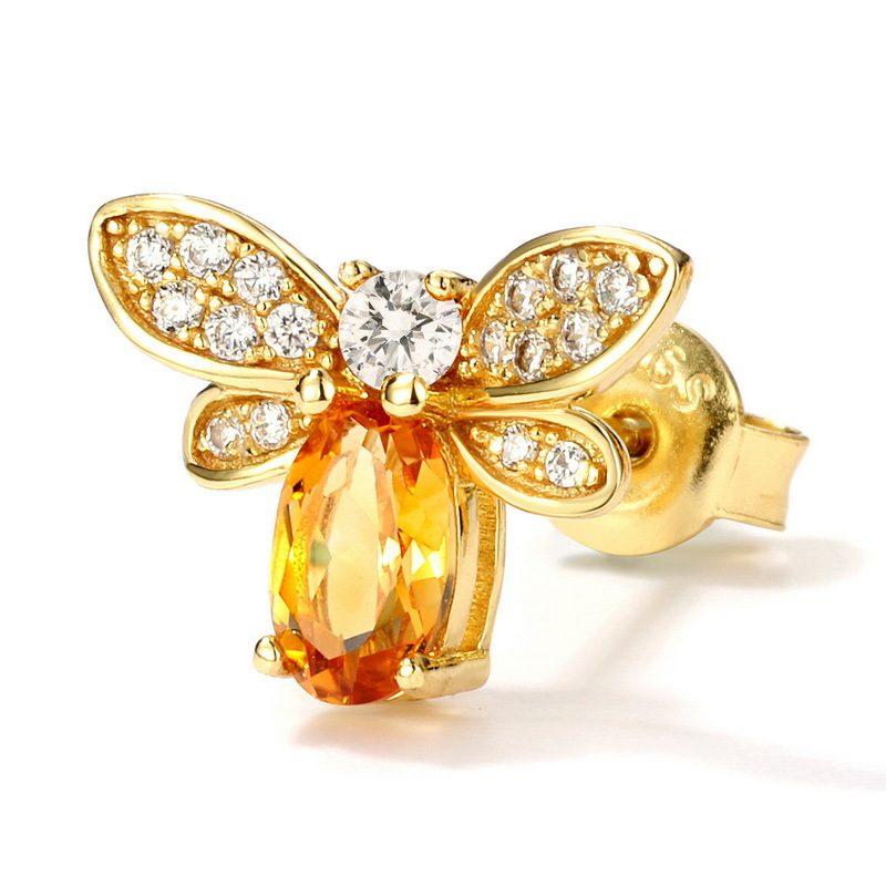 Bông tai bạc mạ vàng đính đá Citrine Zircon hình ong mật LILI_226817-03
