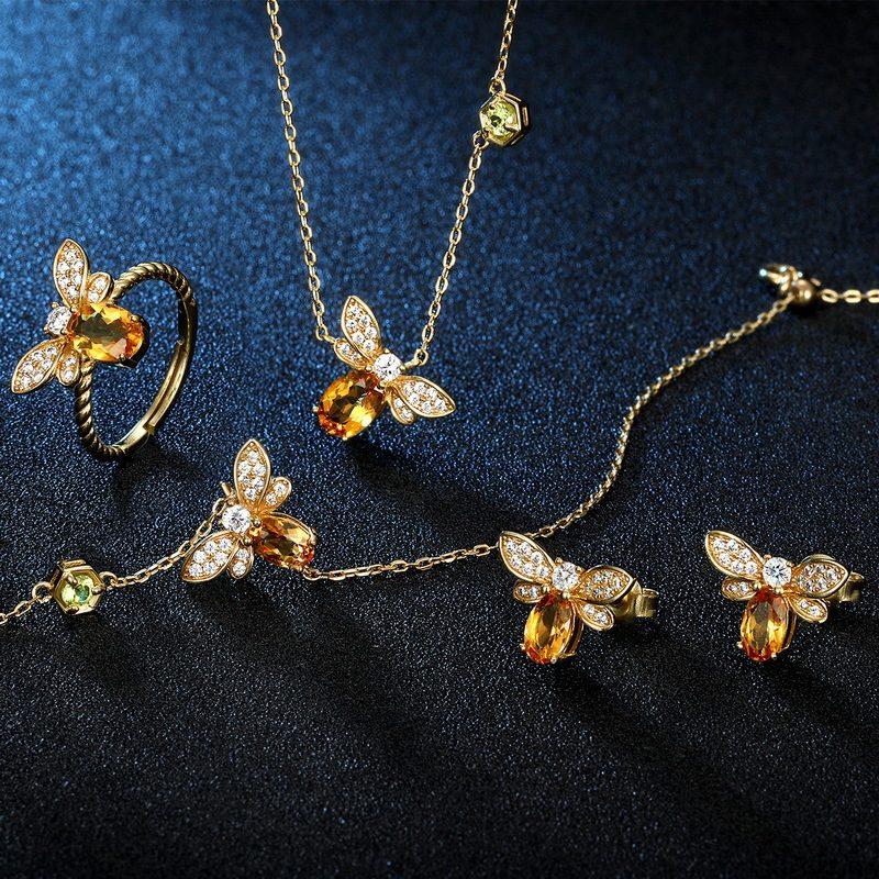 Bông tai bạc mạ vàng đính đá Citrine Zircon hình ong mật LILI_226817-04