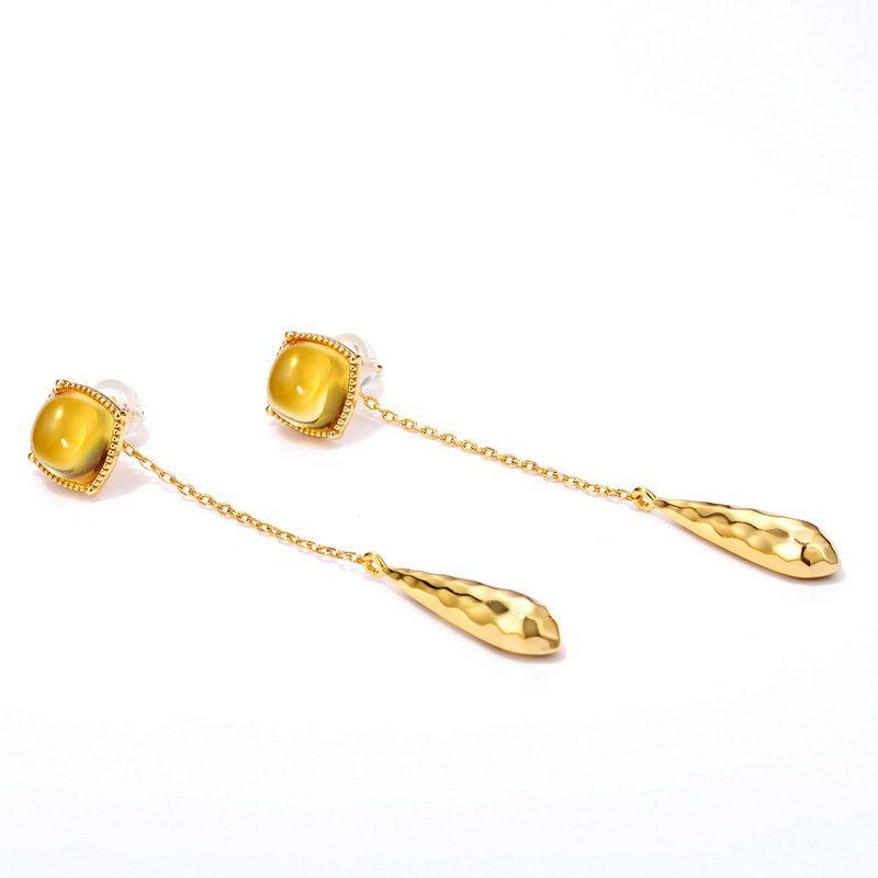 Bông tai bạc mạ vàng đính đá Citrine hình giọt nước LILI_476919-01