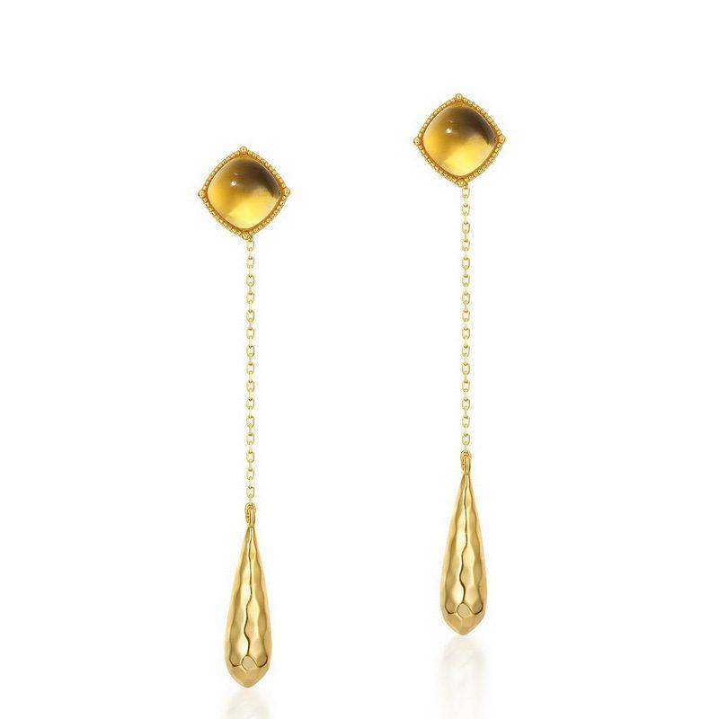 Bông tai bạc mạ vàng đính đá Citrine hình giọt nước LILI_476919-04
