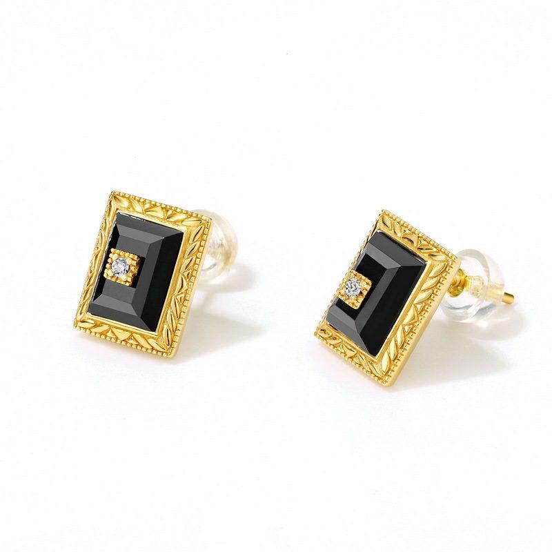 Bông tai bạc mạ vàng đính đá Mã Não Zircon LILI_787889-01