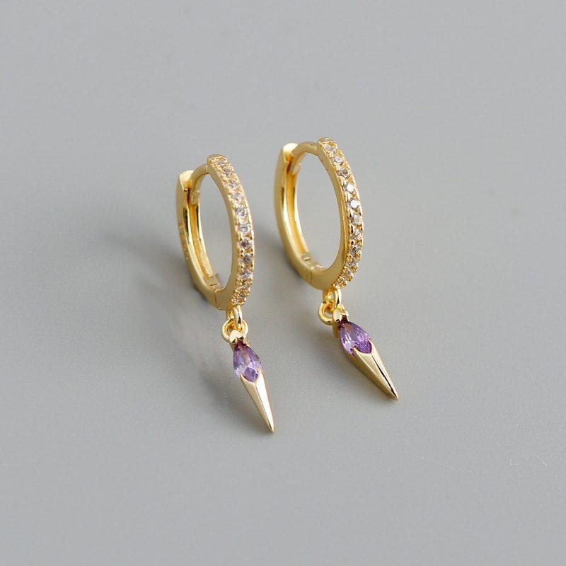Bông tai bạc mạ vàng đính đá Zircon LILI_613464-03