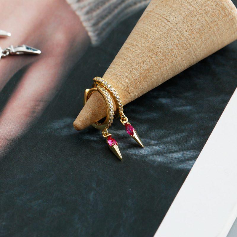 Bông tai bạc mạ vàng đính đá Zircon LILI_613464-08