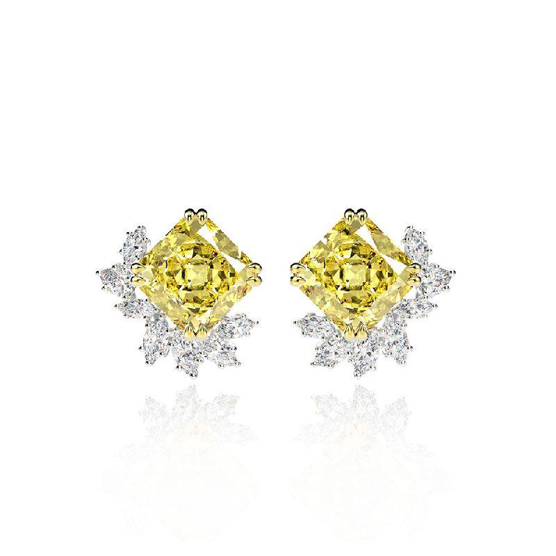 Bông tai bạc mạ vàng đính đá Zircon The One LILI_716849-05
