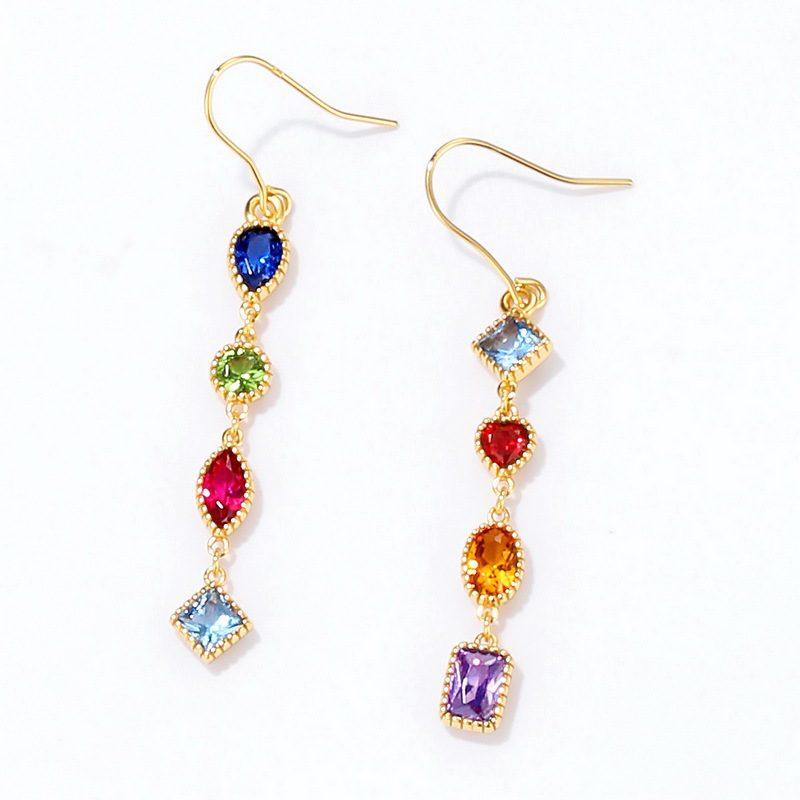 Bông tai bạc mạ vàng đính đá Zircon đa sắc LILI_741711-01