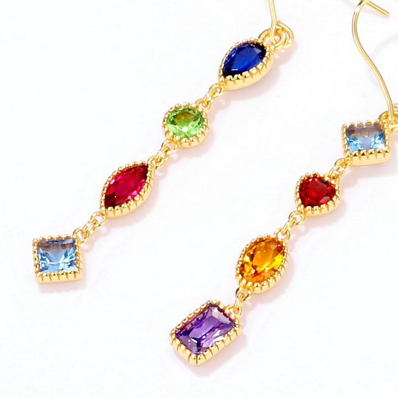 Bông tai bạc mạ vàng đính đá Zircon đa sắc LILI_741711-03