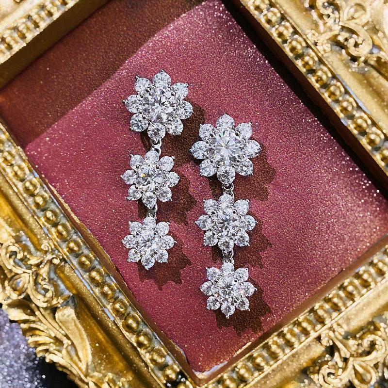 Bông tai bạc mạ vàng đính đá Zircon hình hoa hồng LILI_126482-01