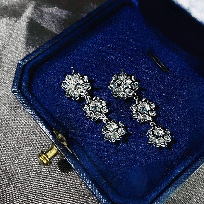 Bông tai bạc mạ vàng đính đá Zircon hình hoa hồng LILI_126482-04