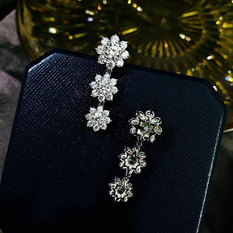 Bông tai bạc mạ vàng đính đá Zircon hình hoa hồng LILI_126482-05