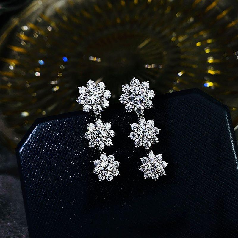 Bông tai bạc mạ vàng đính đá Zircon hình hoa hồng LILI_126482-06