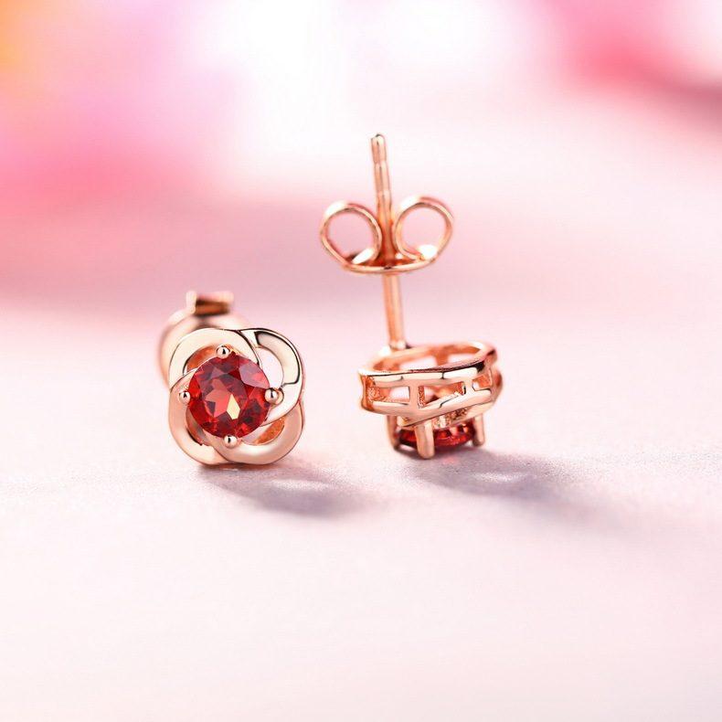 Bông tai bạc mạ vàng đính đá Zircon hoa hồng đỏ LILI_762747-01