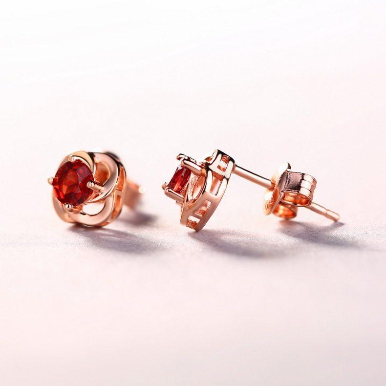 Bông tai bạc mạ vàng đính đá Zircon hoa hồng đỏ LILI_762747-02