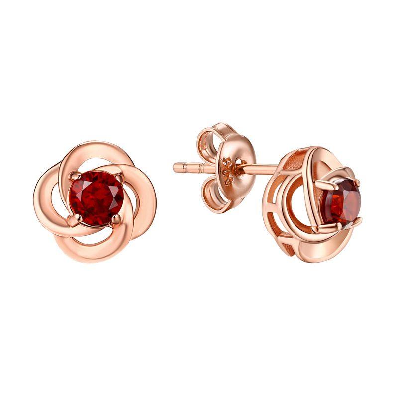 Bông tai bạc mạ vàng đính đá Zircon hoa hồng đỏ LILI_762747-04