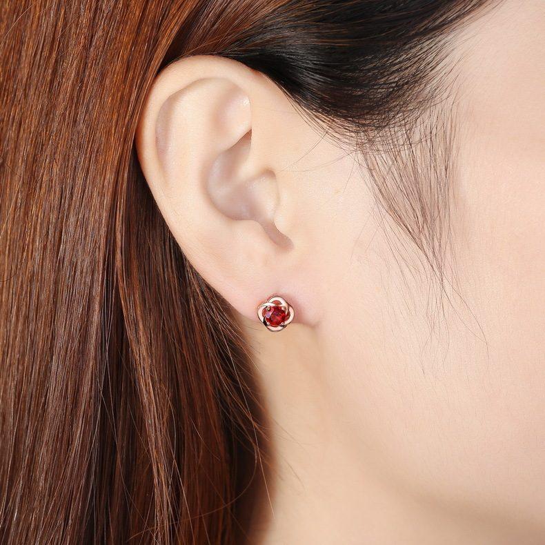 Bông tai bạc mạ vàng đính đá Zircon hoa hồng đỏ LILI_762747-05