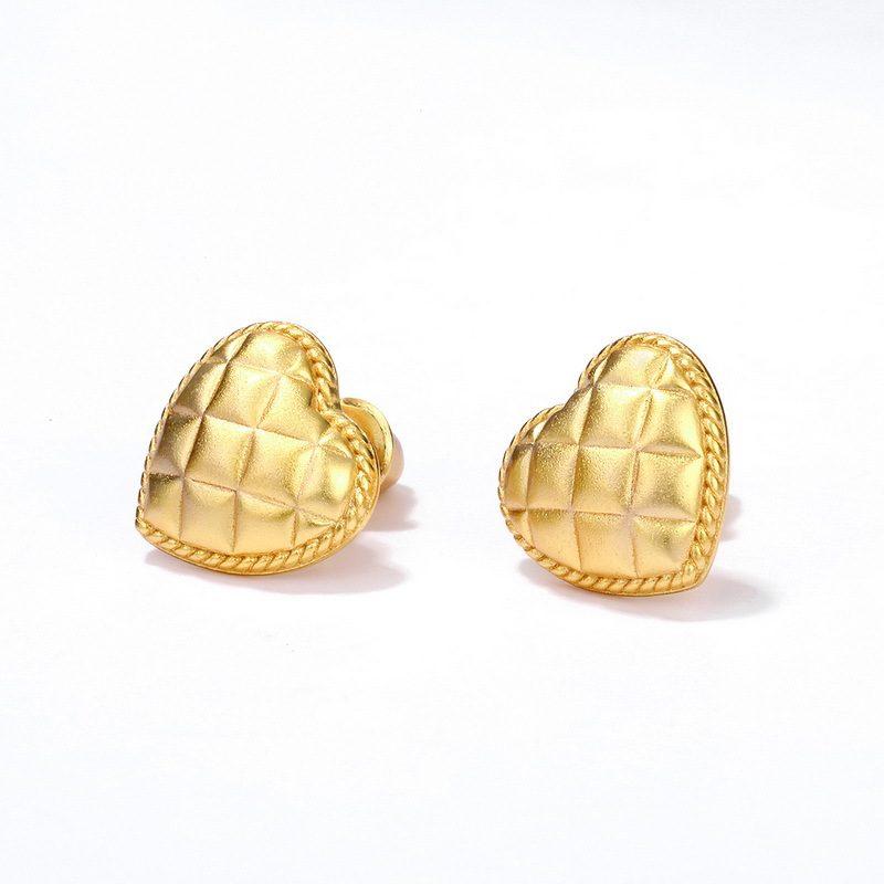 Bông tai bạc mạ vàng hình trái tim vàng LILI_411289-02