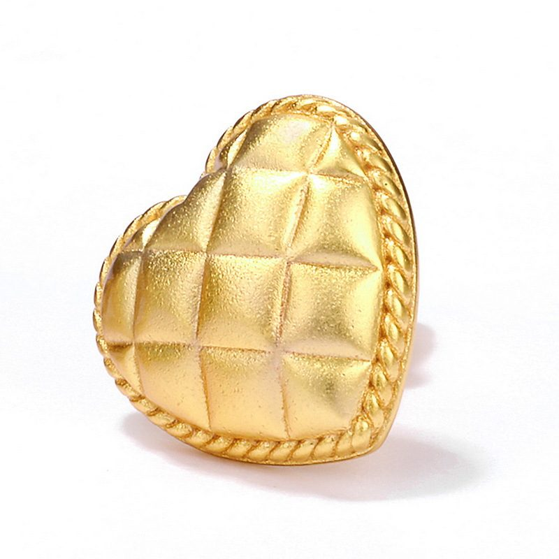 Bông tai bạc mạ vàng hình trái tim vàng LILI_411289-03