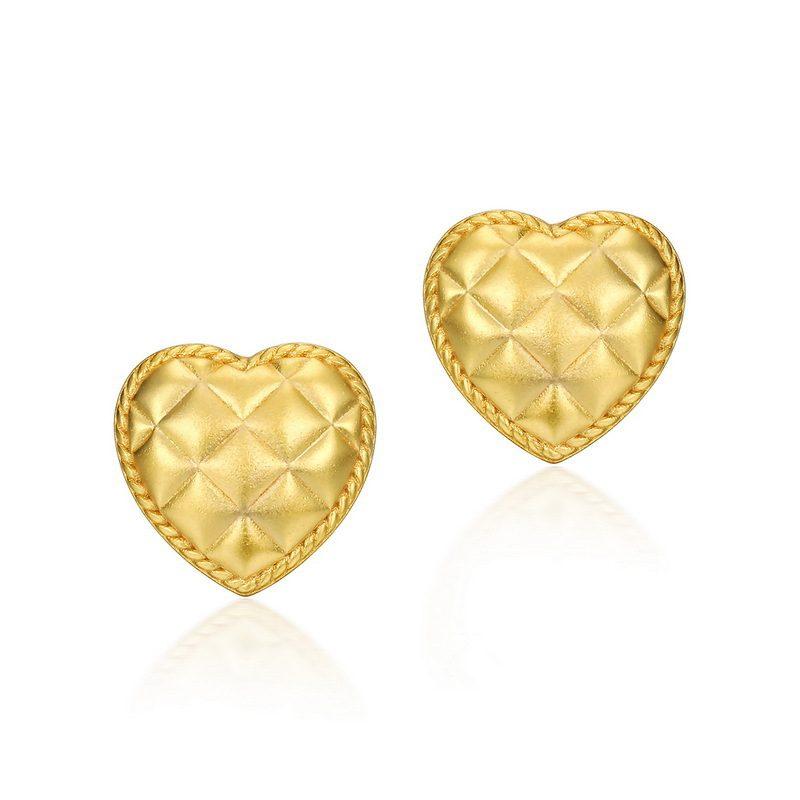 Bông tai bạc mạ vàng hình trái tim vàng LILI_411289-04