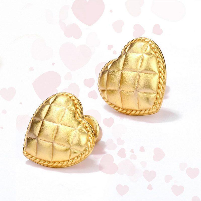 Bông tai bạc mạ vàng hình trái tim vàng LILI_411289-05