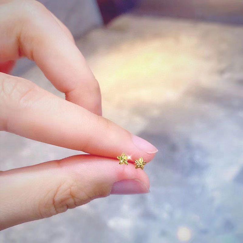 Bông tai vàng 18k hình ngôi sao 5 cánh LILI_711334-03