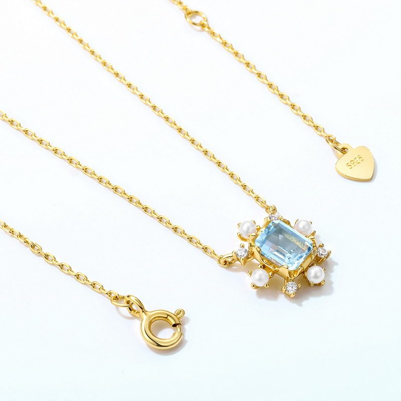 Dây chuyền bạc mạ vàng đính đá Topaz LILI_183482-1