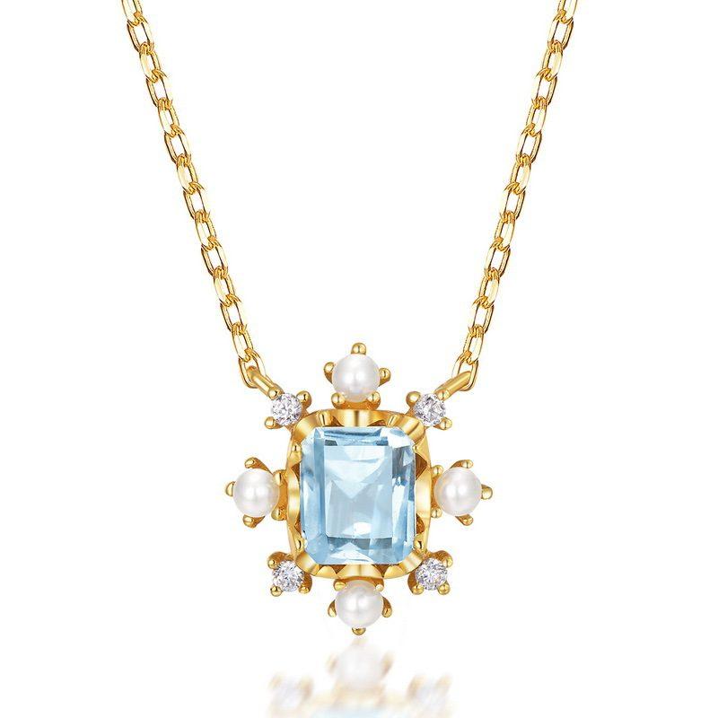 Dây chuyền bạc mạ vàng đính đá Topaz LILI_183482-3