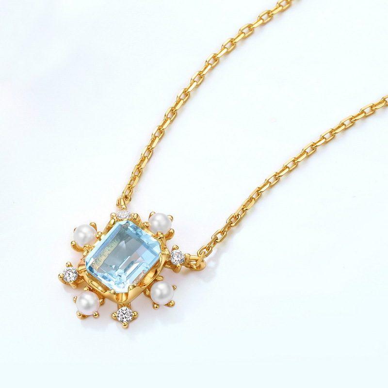 Dây chuyền bạc mạ vàng đính đá Topaz LILI_183482-4